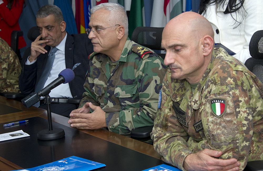 LAF South Litany Sector Commander Brigadier-General Charbel Abou Khalil addressing the ceremony held at UNIFIL headquarters in Naqoura, South Lebanon.
