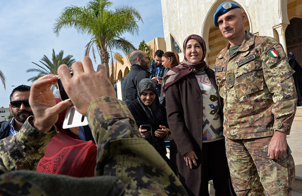 UNIFIL Head of Mission and Force Commander Major-General Luciano Portolano pauses for a picture outside Basel Assad Cultural Center in Tyre.