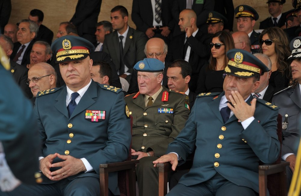 LAF Commander, General Joseph Aoun, and UNIFIL chief, Major General Micheal Beary at the Lebanese Army Day event in Beirut.