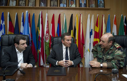 Minister of Social Affairs Mr. Wael Abou Faour (left), UNIFIL Deputy Head of Mission Mr. Milos Strugar (center) and LAF Major General Abdul Rahman Shehaitly speaking before the signature of the Memorandum of Understanding.