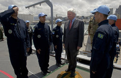 Under Secretary-General for Peacekeeping Operations Mr. Herve Ladsous visits UNIFIL's Maritime Task Force on the flagship 'Constituicao' in Beirut harbor.