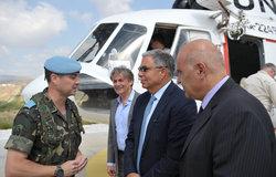 Lt. Col Fernando Lopez De Olmedo, SPANBATT Commander receives the Lebanese Minister of Information Mr. Walid Daouk and the General Director of the Ministry of Information Mr. Hassan Falha at UNP 4-28 in Abasyi, Sector East.