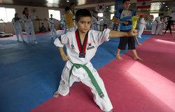 Learning self-defense techniques in Taekwondo classes held by UNIFIL's Korean battalion in Abbasiyeh, South Lebanon.