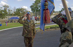 Major-General Serra reviews the UNIFIL ceremonial guard before relinquishing command.