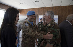 Major-General Luciano Portolano, UNIFIL Force Commander, welcomes General Ahmad Badran from the Lebanese Armed Forces in Naqoura, south Lebanon.