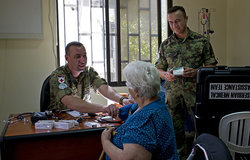 Serbian Medical team from UNIFIL examines patient at municipality premises in Deir Mimas, south Lebanon as part of their CIMIC activities.