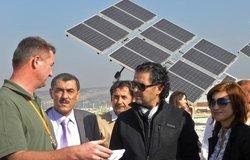 Mr. Christian Roner explaining UNIFIL's solar farm project to Mr. Ragheb Alama.