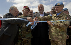 From Left to Right - Mr Wisam Hayek - Qaaem Maqaam of Marjayoum, Brigadier General George Chraim - LAF South Litani Commander, Hajj. Mohammed Daher - Mayor of Blida and Major General Paolo Serra - UNIFIL Force Commander, cut the ribbon to officially inaugurate the Blida water project