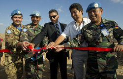 Mayor of Safad al-Batikh, deputy chief of UNIFIL's Civil Affairs, Malaysian Lt. Com Bin Mohammed, and UNIFIL officials inaugurating the -Forest of Friendship- in Safad al-batikh, on 4 October 2012.