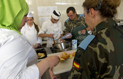 UNIFIL Spanish peacekeepers teaching cuisine classes in Marjayoun, South Lebanon.